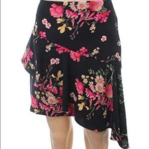 NWT Lush asymmetrical black floral skirt